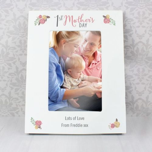 Personalised Floral Bouquet 1st Mothers Day 6x4 Photo Frame